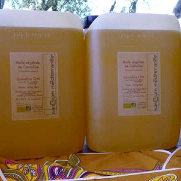 Bidons d'huile alimentaire de cameline bio